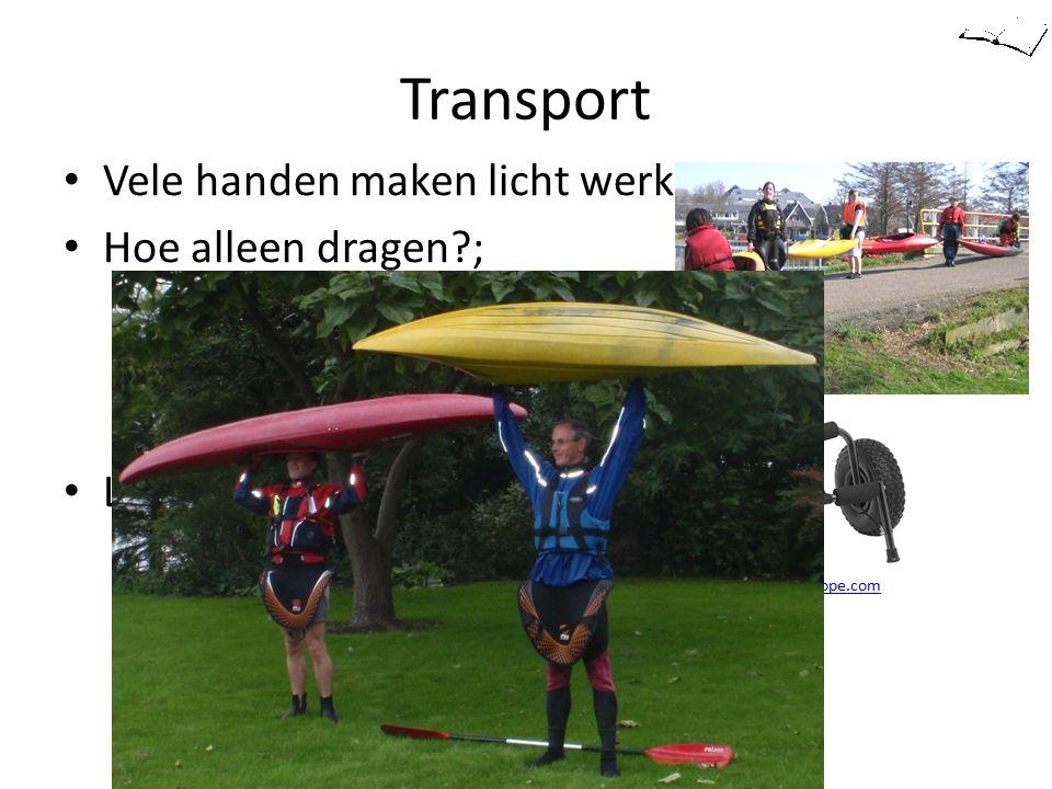Transport Vele handen maken licht werk Hoe alleen dragen?; – Hurk met gestrekte rug – Kuip op schouder tillen – Één hand aan kuiprand Licht karretje F