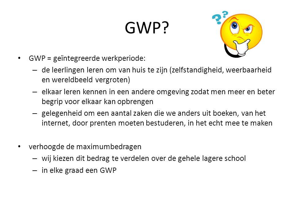 GWP? GWP = geïntegreerde werkperiode: – de leerlingen leren om van huis te zijn (zelfstandigheid, weerbaarheid en wereldbeeld vergroten) – elkaar lere