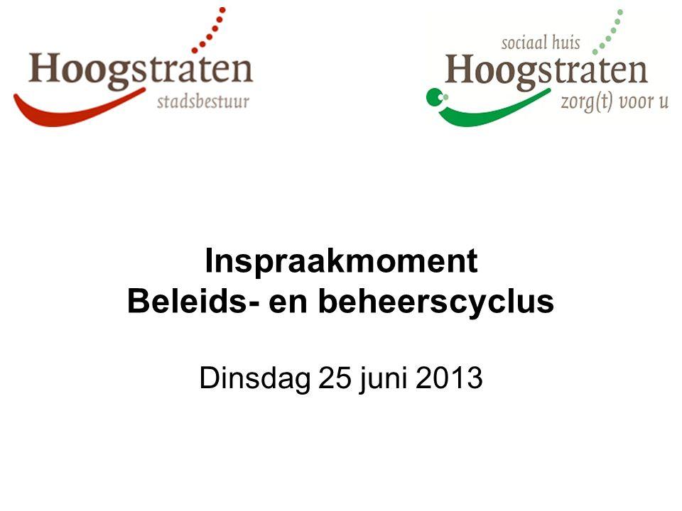 Inspraakmoment Beleids- en beheerscyclus Dinsdag 25 juni 2013