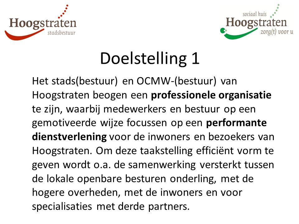 Doelstelling 1 Het stads(bestuur) en OCMW-(bestuur) van Hoogstraten beogen een professionele organisatie te zijn, waarbij medewerkers en bestuur op een gemotiveerde wijze focussen op een performante dienstverlening voor de inwoners en bezoekers van Hoogstraten.