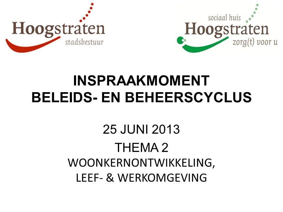 INSPRAAKMOMENT BELEIDS- EN BEHEERSCYCLUS 25 JUNI 2013 THEMA 2 WOONKERNONTWIKKELING, LEEF- & WERKOMGEVING