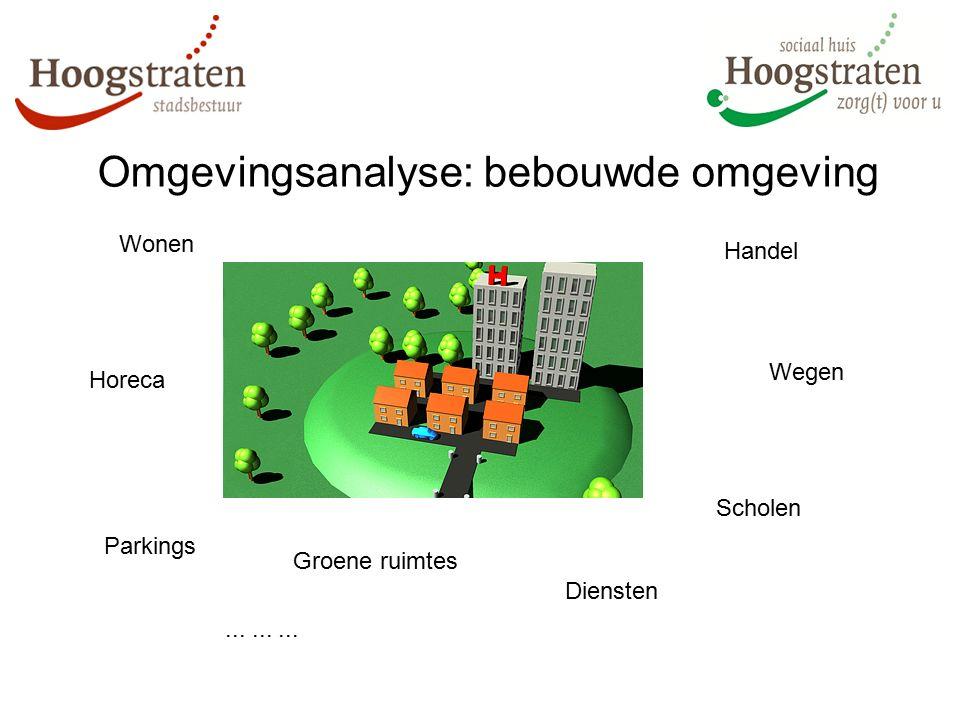 Omgevingsanalyse: bebouwde omgeving Scholen Parkings Horeca Wonen Diensten Handel Groene ruimtes Wegen.........