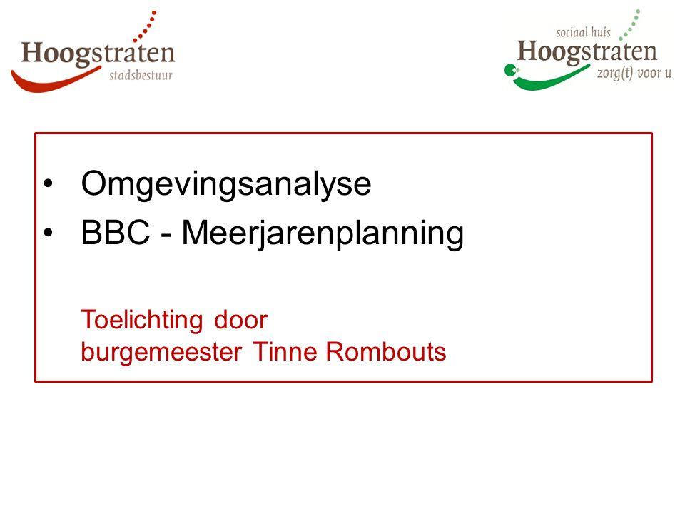 Omgevingsanalyse BBC - Meerjarenplanning Toelichting door burgemeester Tinne Rombouts
