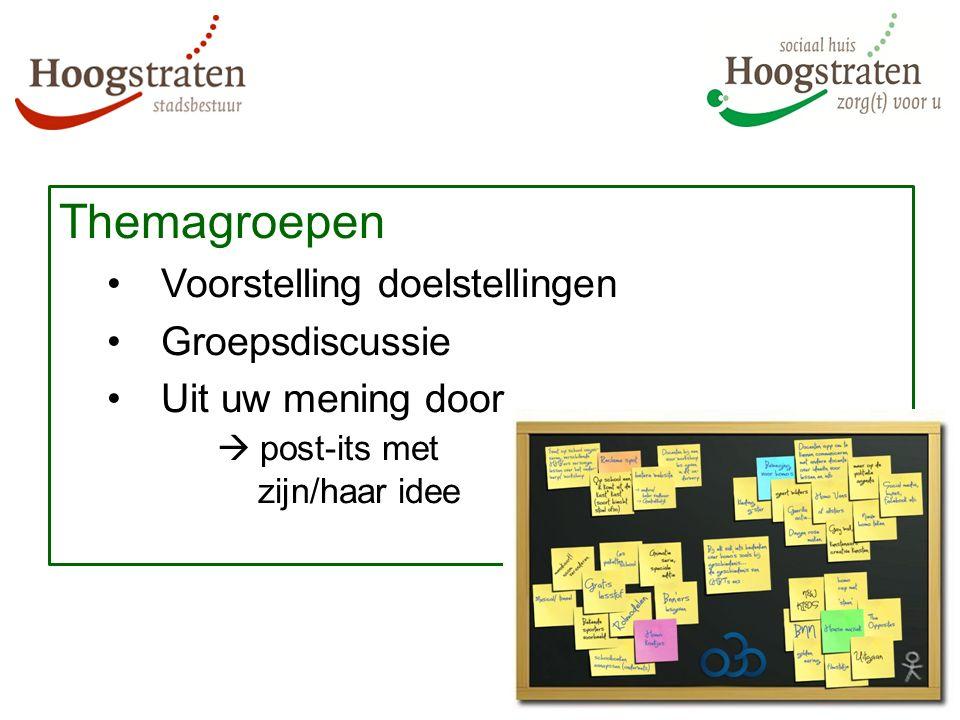 Themagroepen Voorstelling doelstellingen Groepsdiscussie Uit uw mening door  post-its met zijn/haar idee