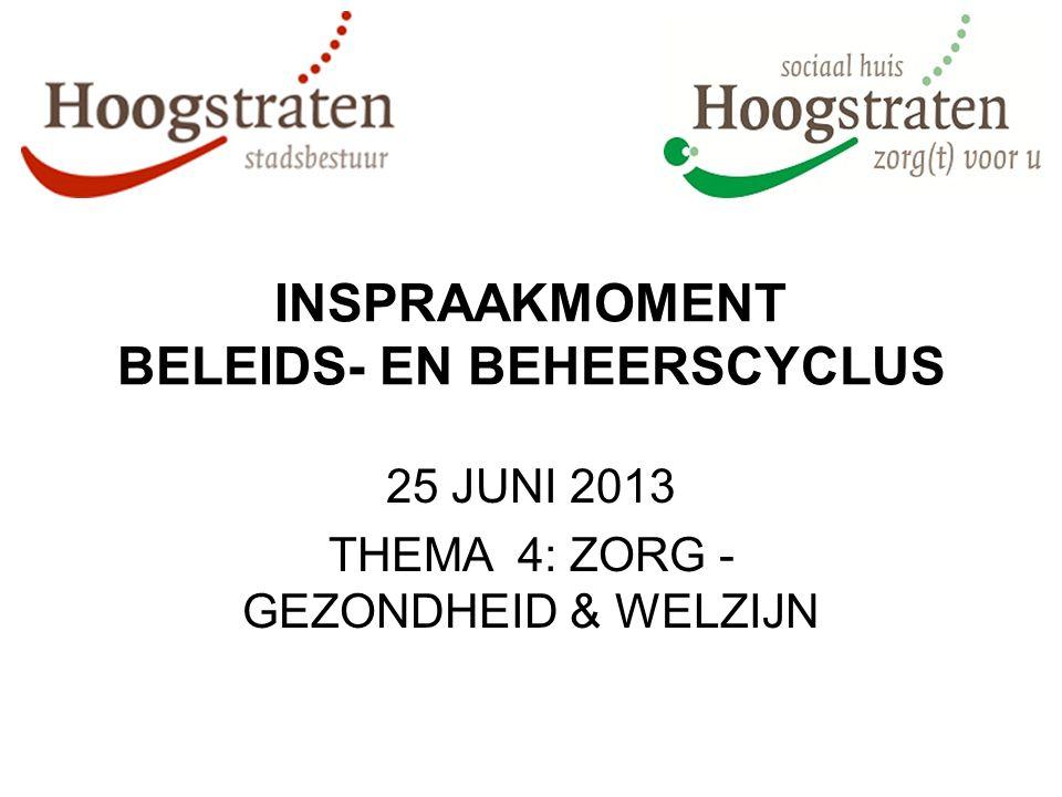 INSPRAAKMOMENT BELEIDS- EN BEHEERSCYCLUS 25 JUNI 2013 THEMA 4: ZORG - GEZONDHEID & WELZIJN