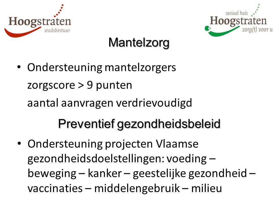 Ondersteuning mantelzorgers zorgscore > 9 punten aantal aanvragen verdrievoudigd Mantelzorg Ondersteuning projecten Vlaamse gezondheidsdoelstellingen: voeding – beweging – kanker – geestelijke gezondheid – vaccinaties – middelengebruik – milieu Preventief gezondheidsbeleid