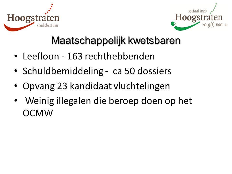 Maatschappelijkkwetsbaren Maatschappelijk kwetsbaren Leefloon - 163 rechthebbenden Schuldbemiddeling - ca 50 dossiers Opvang 23 kandidaat vluchtelingen Weinig illegalen die beroep doen op het OCMW