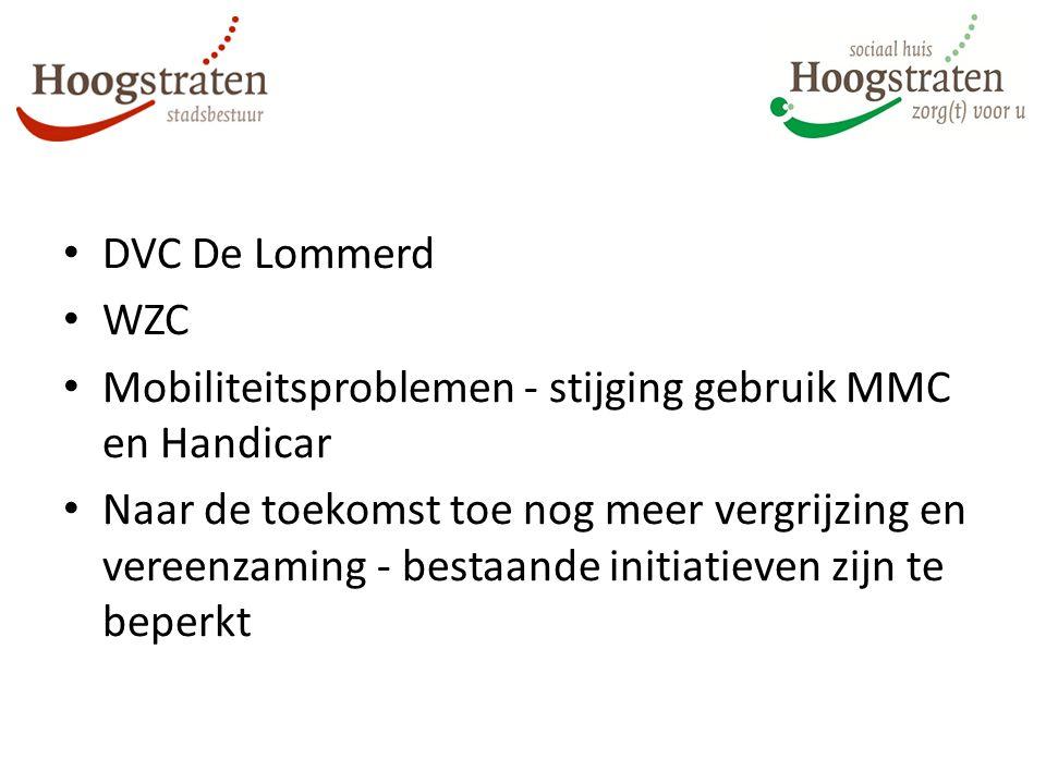 DVC De Lommerd WZC Mobiliteitsproblemen - stijging gebruik MMC en Handicar Naar de toekomst toe nog meer vergrijzing en vereenzaming - bestaande initiatieven zijn te beperkt