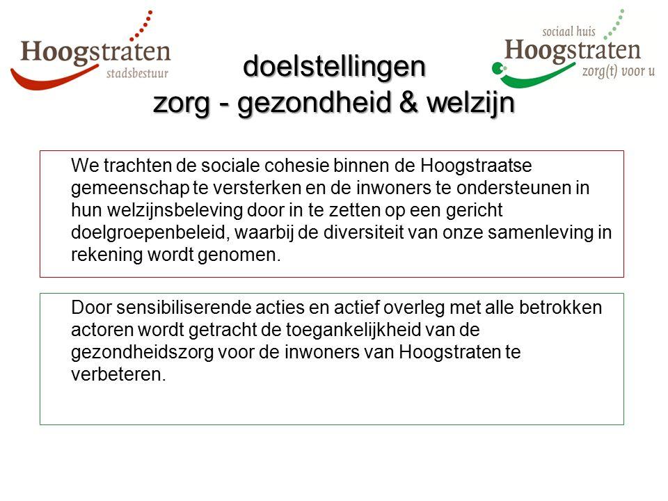 We trachten de sociale cohesie binnen de Hoogstraatse gemeenschap te versterken en de inwoners te ondersteunen in hun welzijnsbeleving door in te zett