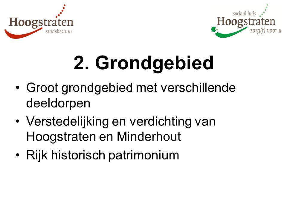 2. Grondgebied Groot grondgebied met verschillende deeldorpen Verstedelijking en verdichting van Hoogstraten en Minderhout Rijk historisch patrimonium