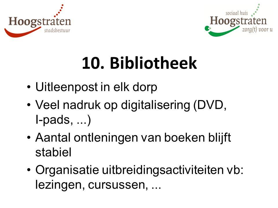10. Bibliotheek Uitleenpost in elk dorp Veel nadruk op digitalisering (DVD, I-pads,...) Aantal ontleningen van boeken blijft stabiel Organisatie uitbr