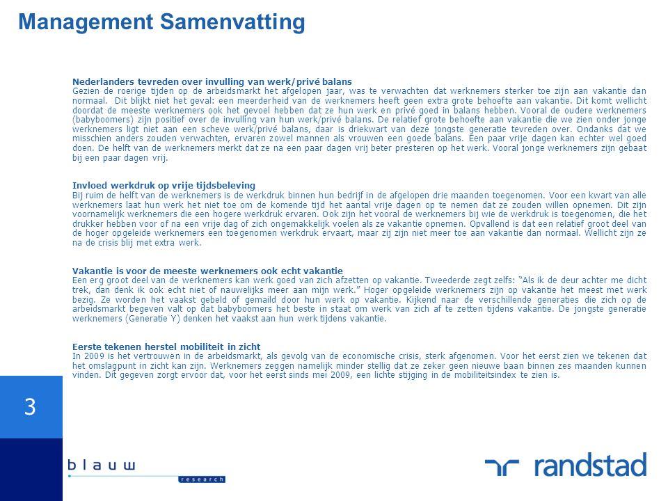 3 Management Samenvatting Nederlanders tevreden over invulling van werk/privé balans Gezien de roerige tijden op de arbeidsmarkt het afgelopen jaar, w