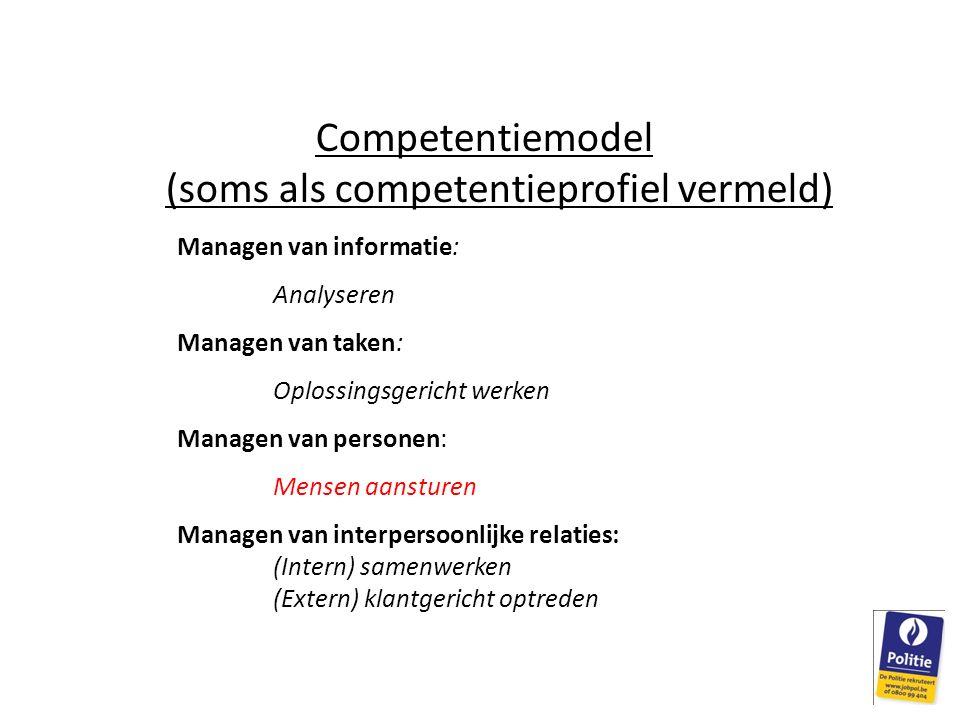 Competentiemodel (soms als competentieprofiel vermeld) Managen van informatie: Analyseren Managen van taken: Oplossingsgericht werken Managen van personen: Mensen aansturen Managen van interpersoonlijke relaties: (Intern) samenwerken (Extern) klantgericht optreden