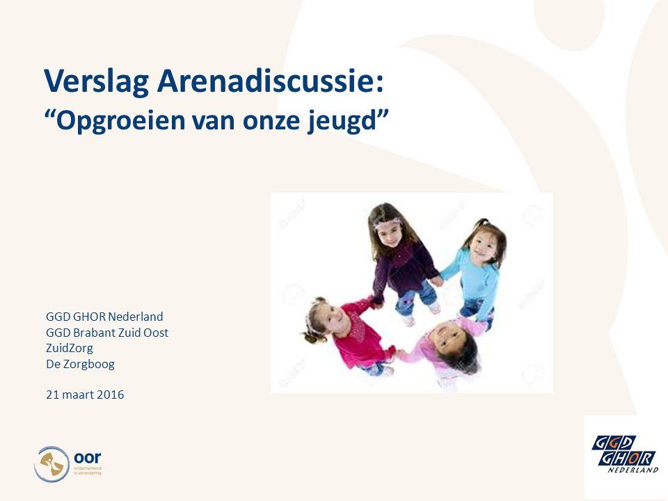 Verslag Arenadiscussie: Opgroeien van onze jeugd GGD GHOR Nederland GGD Brabant Zuid Oost ZuidZorg De Zorgboog 21 maart 2016
