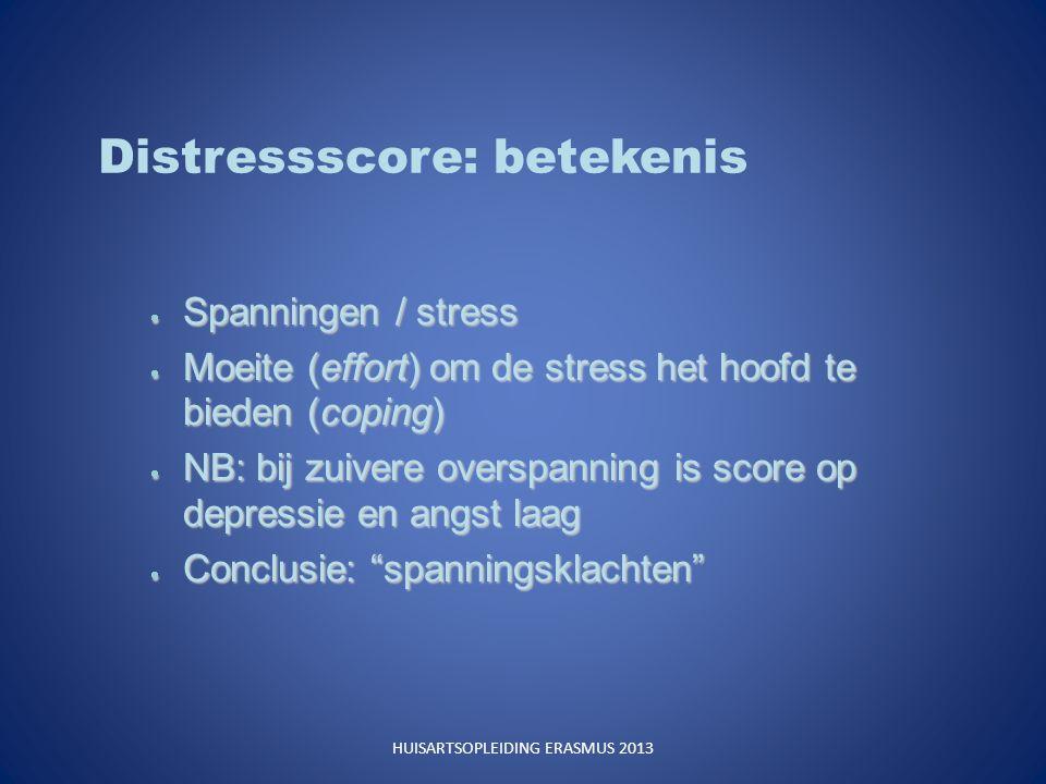 Distressscore: betekenis  Spanningen / stress  Moeite (effort) om de stress het hoofd te bieden (coping)  NB: bij zuivere overspanning is score op depressie en angst laag  Conclusie: spanningsklachten HUISARTSOPLEIDING ERASMUS 2013