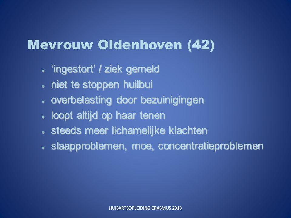 Mevrouw Oldenhoven (42)  'ingestort' / ziek gemeld  niet te stoppen huilbui  overbelasting door bezuinigingen  loopt altijd op haar tenen  steeds meer lichamelijke klachten  slaapproblemen, moe, concentratieproblemen HUISARTSOPLEIDING ERASMUS 2013
