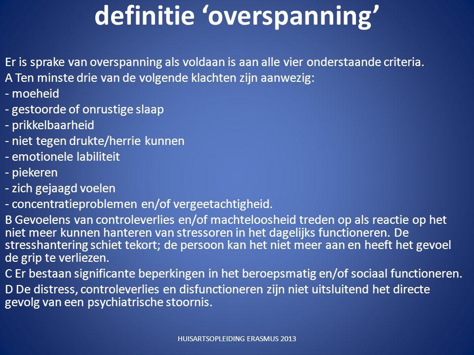 definitie 'overspanning' Er is sprake van overspanning als voldaan is aan alle vier onderstaande criteria.