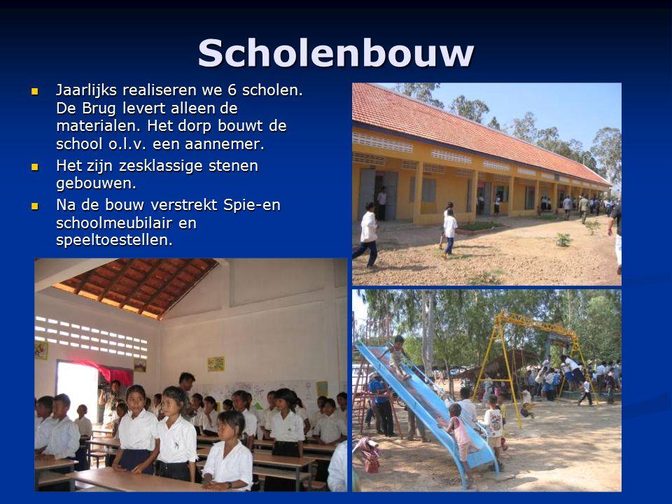 Scholenbouw Jaarlijks realiseren we 6 scholen. De Brug levert alleen de materialen. Het dorp bouwt de school o.l.v. een aannemer. Jaarlijks realiseren
