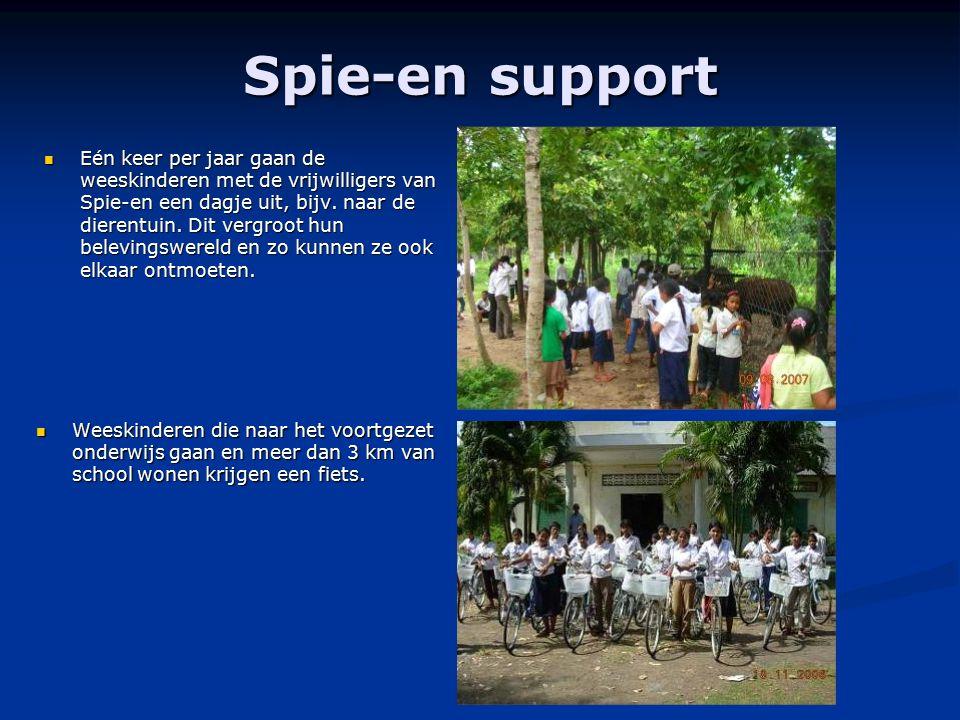 Spie-en support Eén keer per jaar gaan de weeskinderen met de vrijwilligers van Spie-en een dagje uit, bijv. naar de dierentuin. Dit vergroot hun bele
