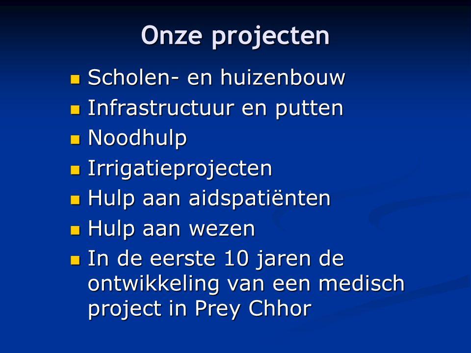 Onze projecten Scholen- en huizenbouw Scholen- en huizenbouw Infrastructuur en putten Infrastructuur en putten Noodhulp Noodhulp Irrigatieprojecten Ir