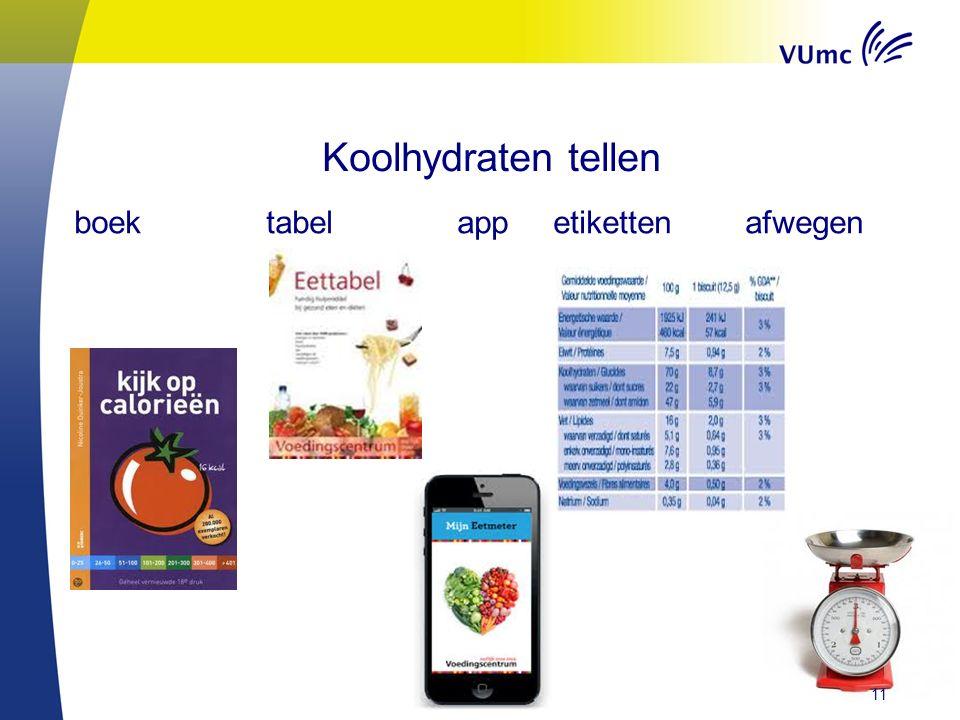 Koolhydraten tellen boektabelappetikettenafwegen 11