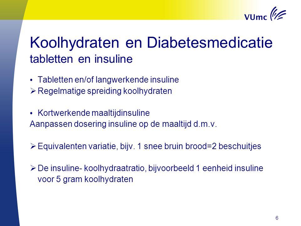Koolhydraten en Diabetesmedicatie tabletten en insuline Tabletten en/of langwerkende insuline  Regelmatige spreiding koolhydraten Kortwerkende maaltijdinsuline Aanpassen dosering insuline op de maaltijd d.m.v.