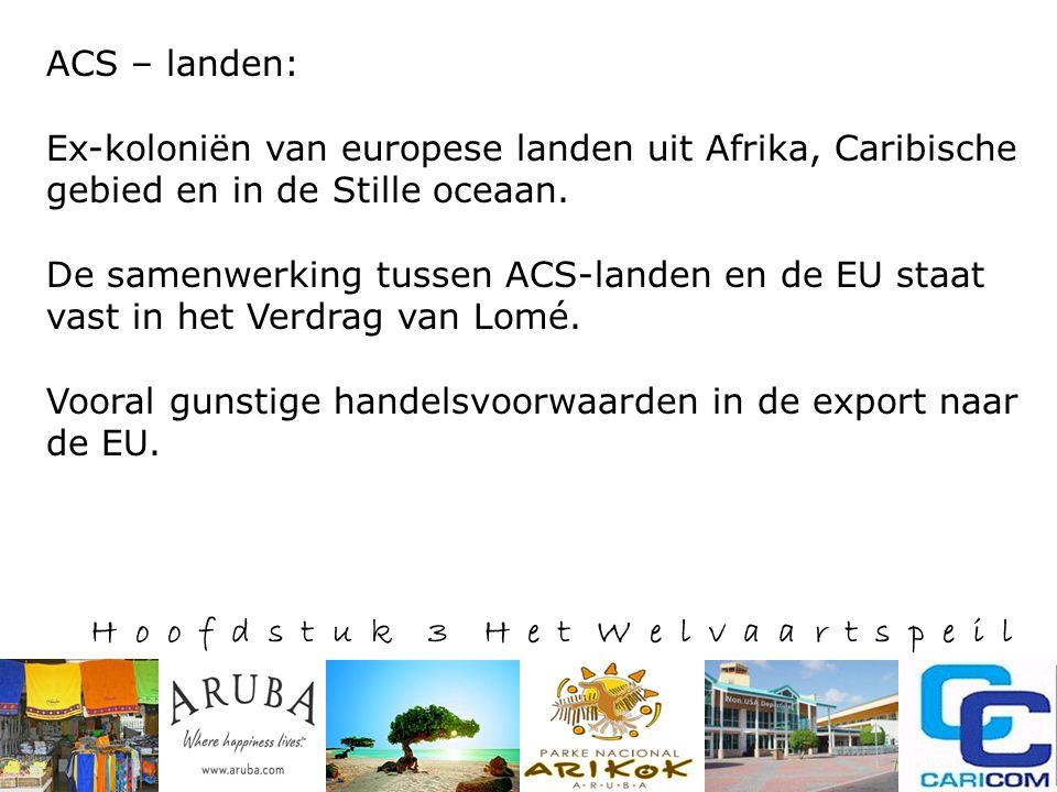H o o f d s t u k 3 H e t W e l v a a r t s p e i l ACS – landen: Ex-koloniën van europese landen uit Afrika, Caribische gebied en in de Stille oceaan.