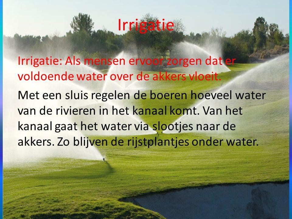 Irrigatie Irrigatie: Als mensen ervoor zorgen dat er voldoende water over de akkers vloeit. Met een sluis regelen de boeren hoeveel water van de rivie