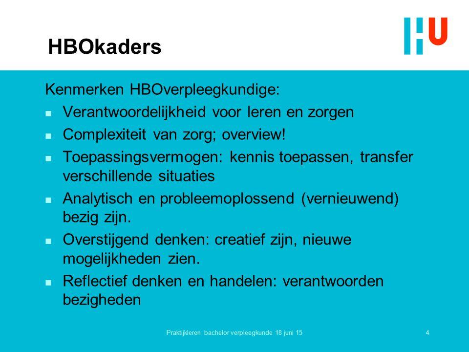4 HBOkaders Kenmerken HBOverpleegkundige: n Verantwoordelijkheid voor leren en zorgen n Complexiteit van zorg; overview.