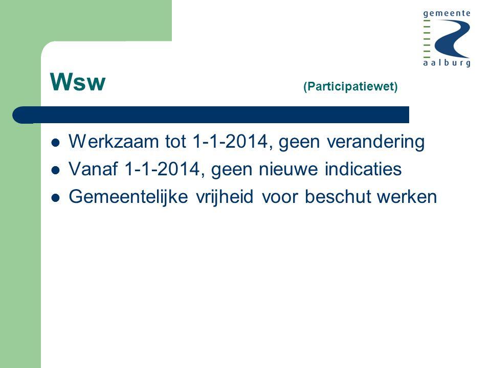 Wsw (Participatiewet) Werkzaam tot 1-1-2014, geen verandering Vanaf 1-1-2014, geen nieuwe indicaties Gemeentelijke vrijheid voor beschut werken