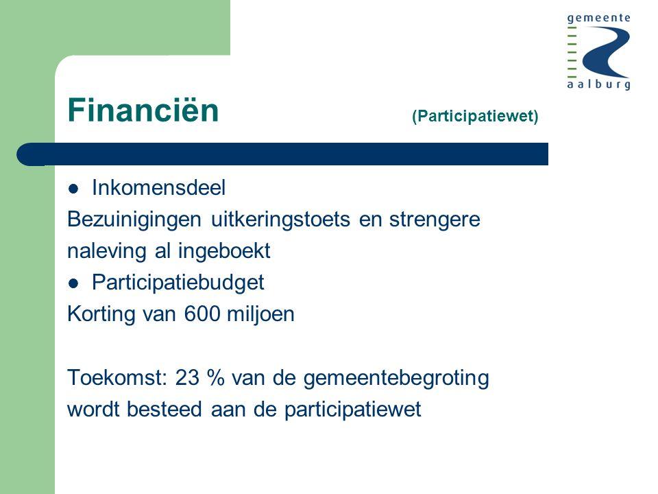 Financiën (Participatiewet) Inkomensdeel Bezuinigingen uitkeringstoets en strengere naleving al ingeboekt Participatiebudget Korting van 600 miljoen Toekomst: 23 % van de gemeentebegroting wordt besteed aan de participatiewet