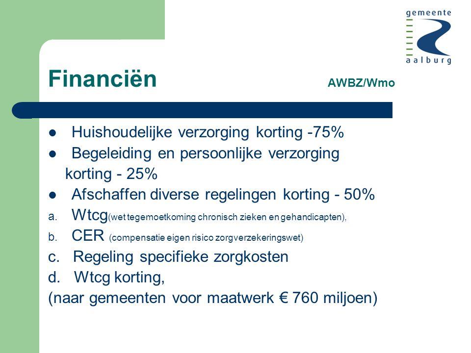 Financiën AWBZ/Wmo Huishoudelijke verzorging korting -75% Begeleiding en persoonlijke verzorging korting - 25% Afschaffen diverse regelingen korting - 50% a.