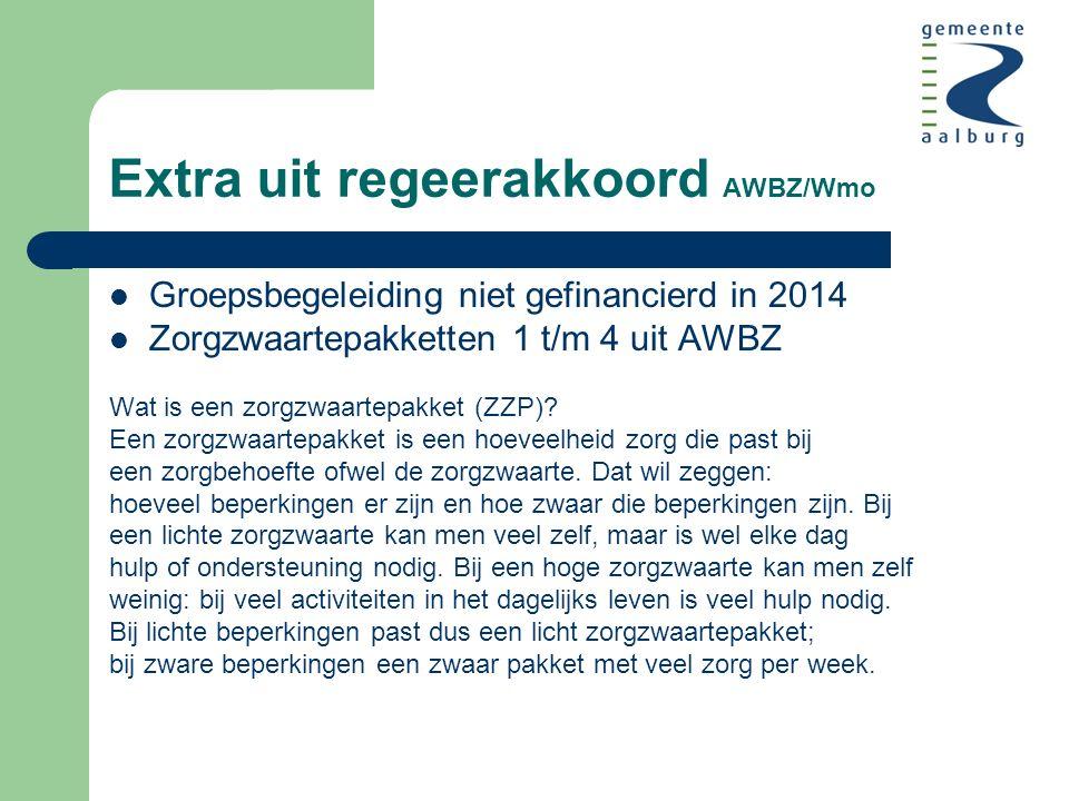 Extra uit regeerakkoord AWBZ/Wmo Groepsbegeleiding niet gefinancierd in 2014 Zorgzwaartepakketten 1 t/m 4 uit AWBZ Wat is een zorgzwaartepakket (ZZP).