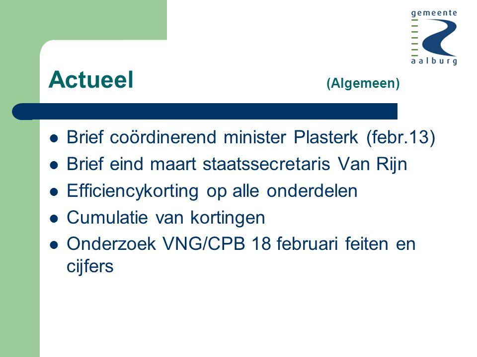 Actueel (Algemeen) Brief coördinerend minister Plasterk (febr.13) Brief eind maart staatssecretaris Van Rijn Efficiencykorting op alle onderdelen Cumulatie van kortingen Onderzoek VNG/CPB 18 februari feiten en cijfers
