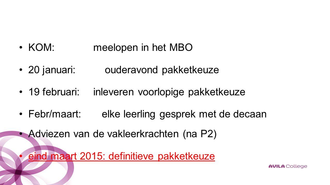 KOM:meelopen in het MBO 20 januari: ouderavond pakketkeuze 19 februari:inleveren voorlopige pakketkeuze Febr/maart: elke leerling gesprek met de decaan Adviezen van de vakleerkrachten (na P2) eind maart 2015: definitieve pakketkeuze