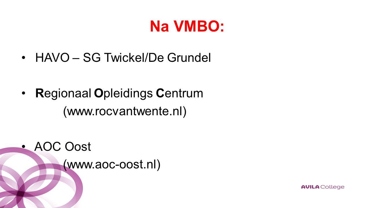 Na VMBO: HAVO – SG Twickel/De Grundel Regionaal Opleidings Centrum (www.rocvantwente.nl) AOC Oost (www.aoc-oost.nl)