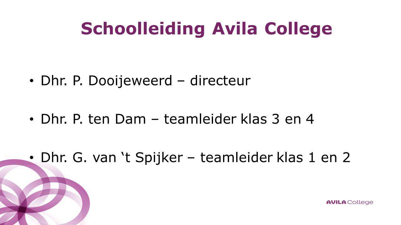 Schoolleiding Avila College Dhr. P. Dooijeweerd – directeur Dhr.