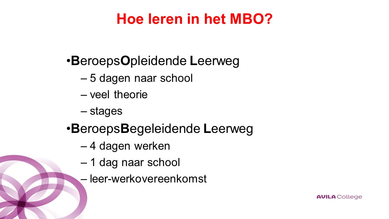 Hoe leren in het MBO.