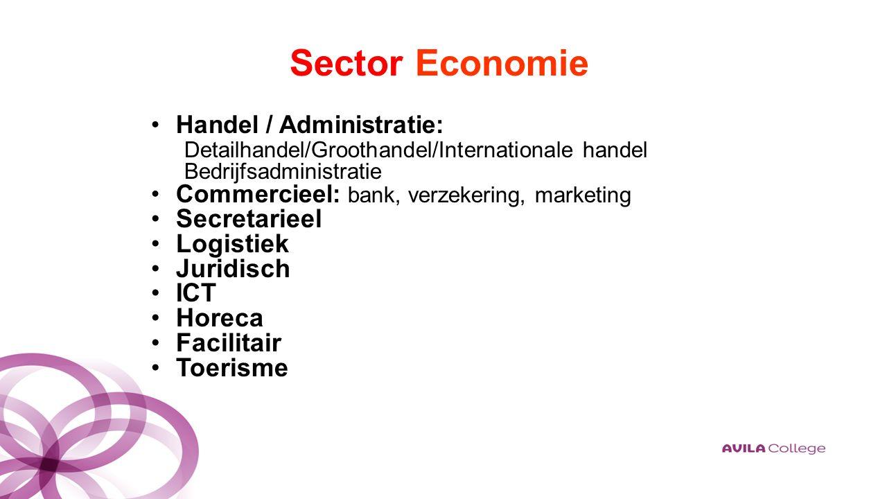 Sector Economie Handel / Administratie: Detailhandel/Groothandel/Internationale handel Bedrijfsadministratie Commercieel: bank, verzekering, marketing Secretarieel Logistiek Juridisch ICT Horeca Facilitair Toerisme