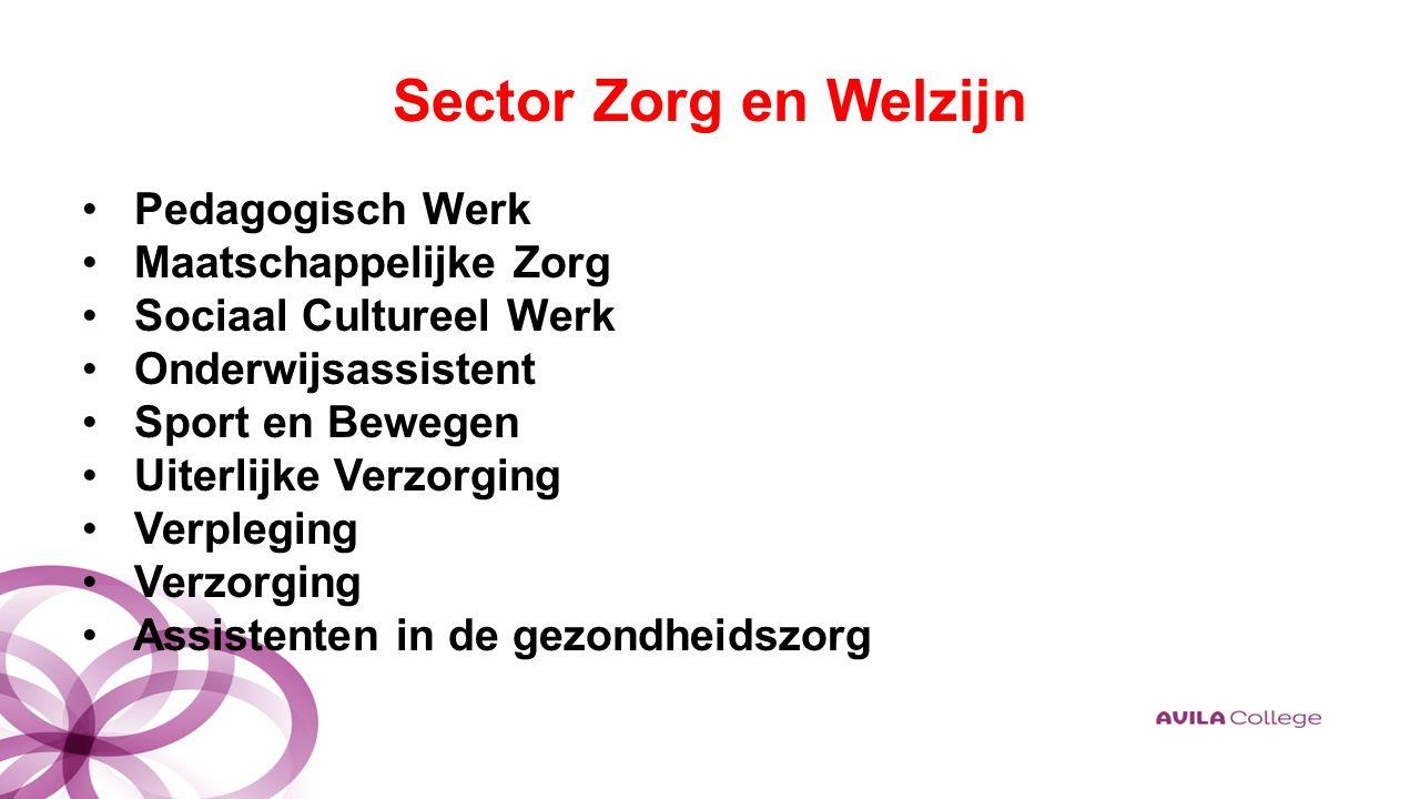Sector Zorg en Welzijn Pedagogisch Werk Maatschappelijke Zorg Sociaal Cultureel Werk Onderwijsassistent Sport en Bewegen Uiterlijke Verzorging Verpleging Verzorging Assistenten in de gezondheidszorg