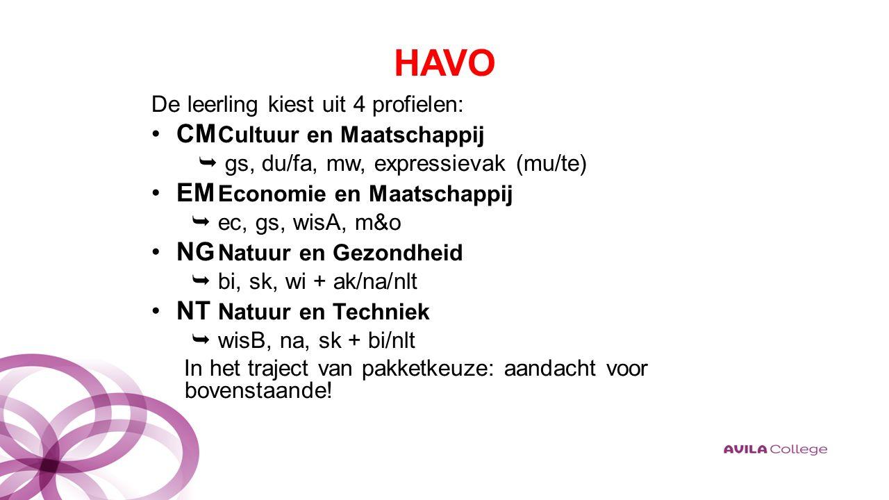 HAVO De leerling kiest uit 4 profielen: CM Cultuur en Maatschappij  gs, du/fa, mw, expressievak (mu/te) EM Economie en Maatschappij  ec, gs, wisA, m&o NG Natuur en Gezondheid  bi, sk, wi + ak/na/nlt NT Natuur en Techniek  wisB, na, sk + bi/nlt In het traject van pakketkeuze: aandacht voor bovenstaande!