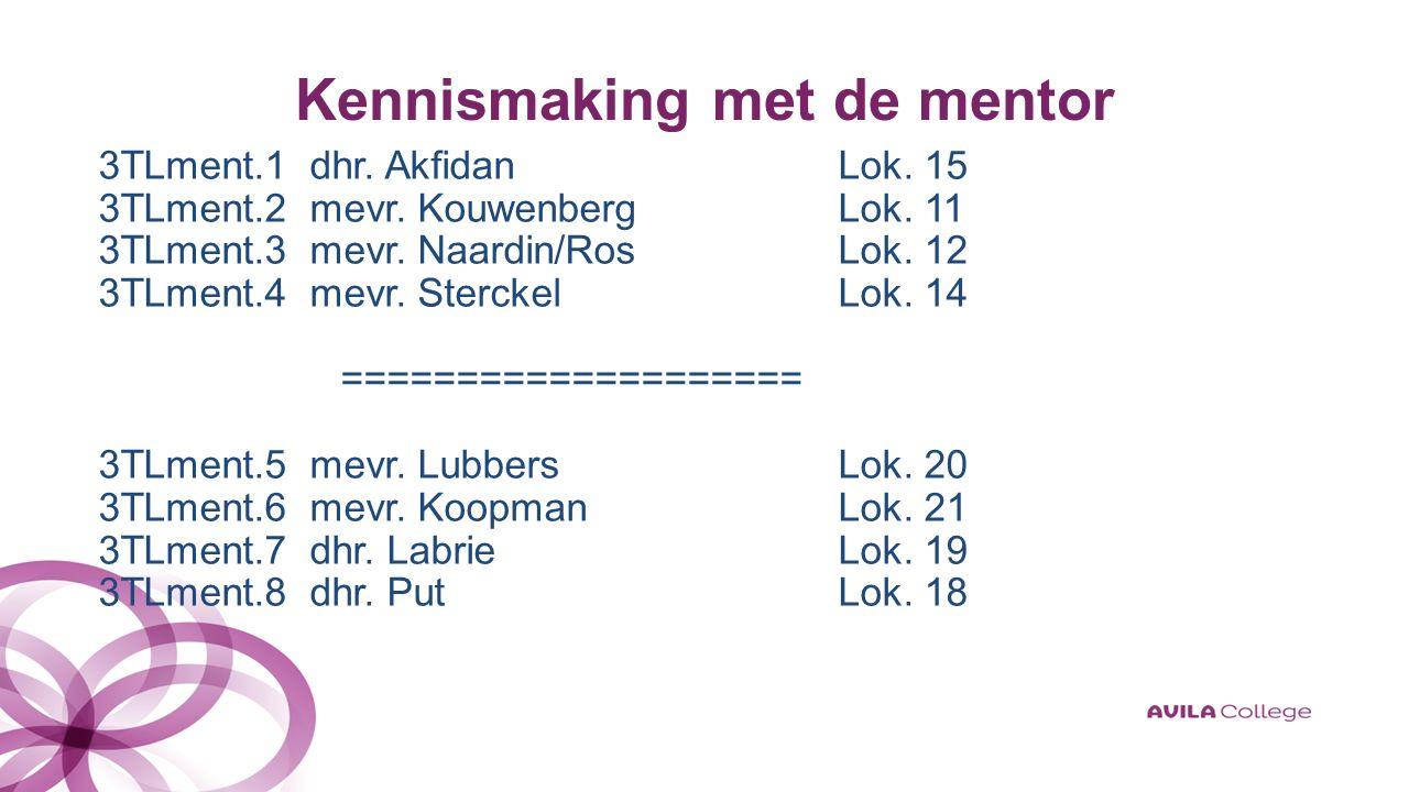 Kennismaking met de mentor 3TLment.1 dhr. AkfidanLok.