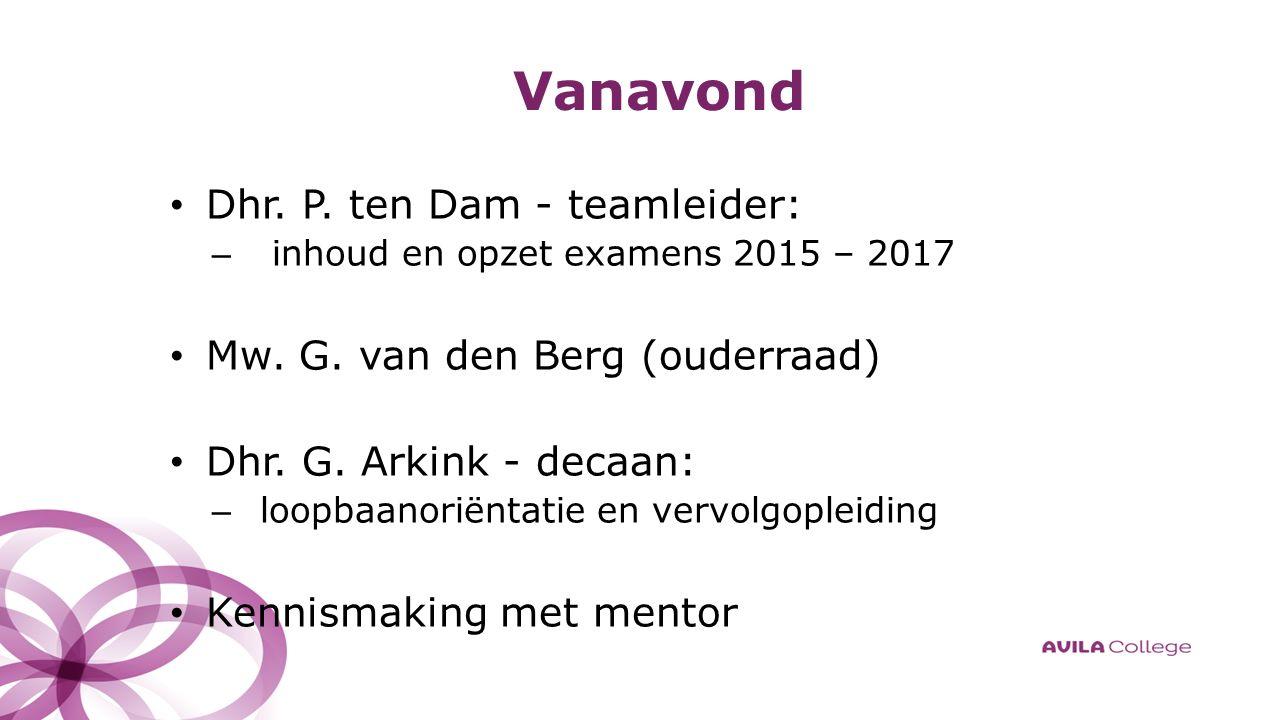Vanavond Dhr. P. ten Dam - teamleider: – inhoud en opzet examens 2015 – 2017 Mw.