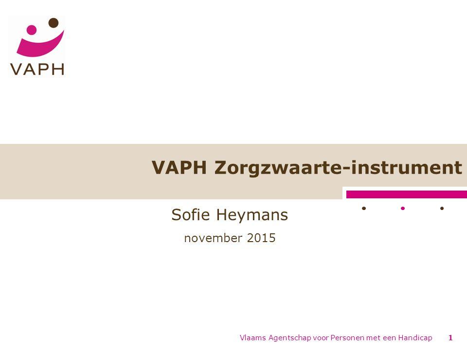 Vlaams Agentschap voor Personen met een Handicap1 VAPH Zorgzwaarte-instrument Sofie Heymans november 2015