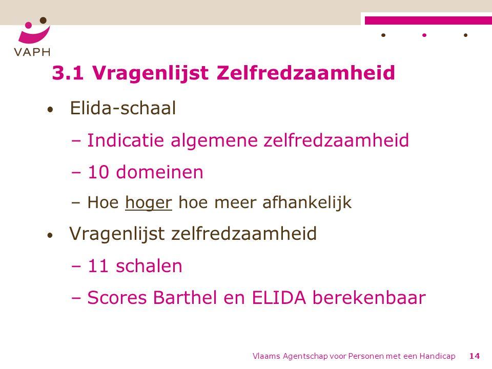 Vlaams Agentschap voor Personen met een Handicap14 Elida-schaal –Indicatie algemene zelfredzaamheid –10 domeinen –Hoe hoger hoe meer afhankelijk Vragenlijst zelfredzaamheid –11 schalen –Scores Barthel en ELIDA berekenbaar 3.1 Vragenlijst Zelfredzaamheid