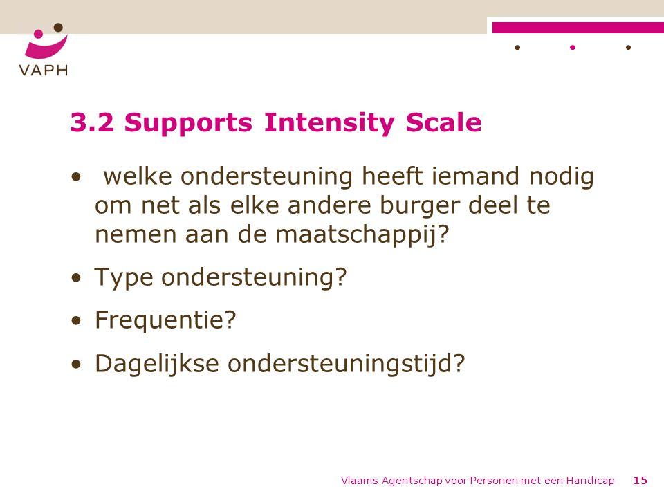 Vlaams Agentschap voor Personen met een Handicap15 3.2 Supports Intensity Scale welke ondersteuning heeft iemand nodig om net als elke andere burger deel te nemen aan de maatschappij.
