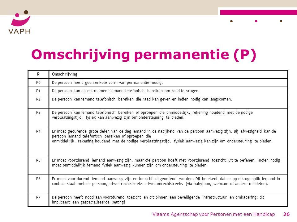 Vlaams Agentschap voor Personen met een Handicap26 Omschrijving permanentie (P) POmschrijving P0De persoon heeft geen enkele vorm van permanentie nodig.