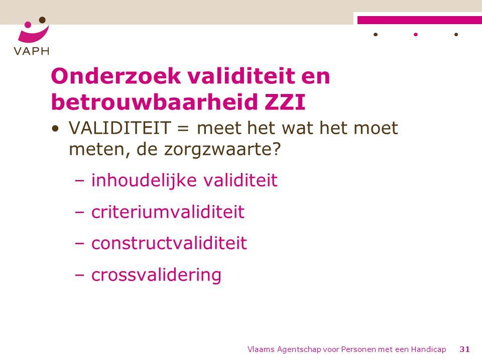 Onderzoek validiteit en betrouwbaarheid ZZI VALIDITEIT = meet het wat het moet meten, de zorgzwaarte.