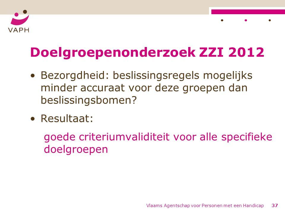 Doelgroepenonderzoek ZZI 2012 Bezorgdheid: beslissingsregels mogelijks minder accuraat voor deze groepen dan beslissingsbomen.