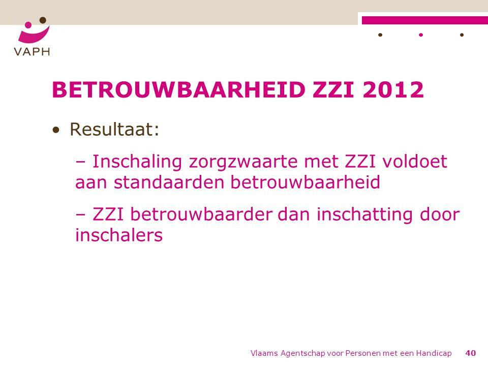BETROUWBAARHEID ZZI 2012 Resultaat: – Inschaling zorgzwaarte met ZZI voldoet aan standaarden betrouwbaarheid – ZZI betrouwbaarder dan inschatting door inschalers Vlaams Agentschap voor Personen met een Handicap40